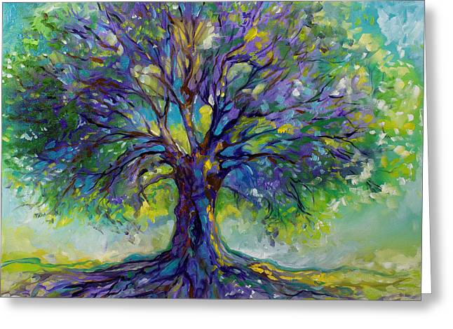 Tree Art Greeting Cards - Purple Heart Tree Of Life Greeting Card by Marcia Baldwin