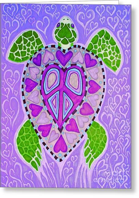 Animals Love Drawings Greeting Cards - Purple Heart Turtle Greeting Card by Nick Gustafson