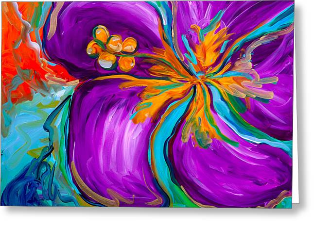 Purple Hibiscus Greeting Card by Beth Cooper