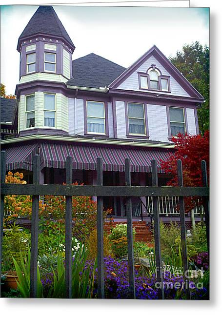 Purple Awnings Greeting Cards - Purple House in Ligonier PA Greeting Card by Shelly Weingart