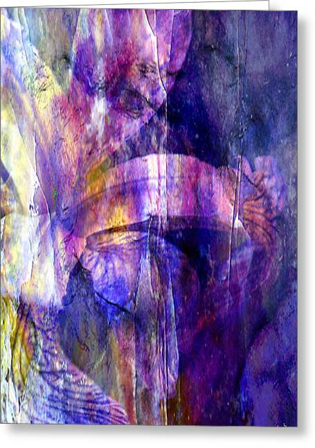 Iris Digital Art Greeting Cards - Purple Iris Abstract Greeting Card by J Larry Walker