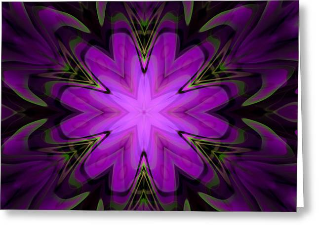 Computer Generated Flower Greeting Cards - Purple Kaleidoscopic Flower Greeting Card by Hakon Soreide