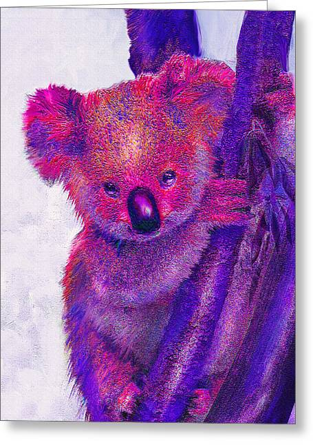 Koala Digital Greeting Cards - Purple Koala Greeting Card by Jane Schnetlage