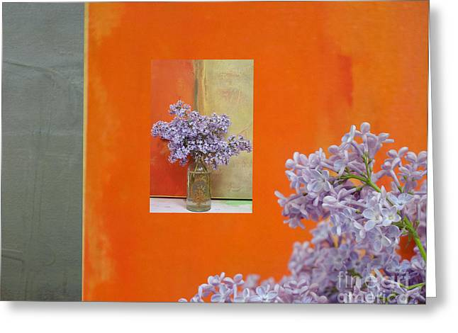 Textured Floral Greeting Cards - Purple Lilacs and Orange Abstract Greeting Card by AdSpice Studios