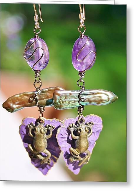 Amphibians Jewelry Greeting Cards - Purple Lily Pad Landing Earings Greeting Card by Kelly Nicodemus-Miller