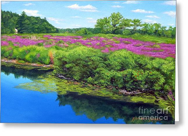 Dennis Ma Paintings Greeting Cards - Purple Loosestrife On Charles River Greeting Card by Rosemarie Morelli