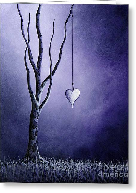Outsider Greeting Cards - Purple Love by Shawna Erback Greeting Card by Shawna Erback