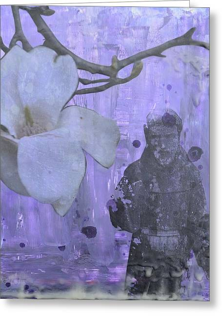Wax Mixed Media Greeting Cards - Purple Magnolia Greeting Card by Terri  Willits