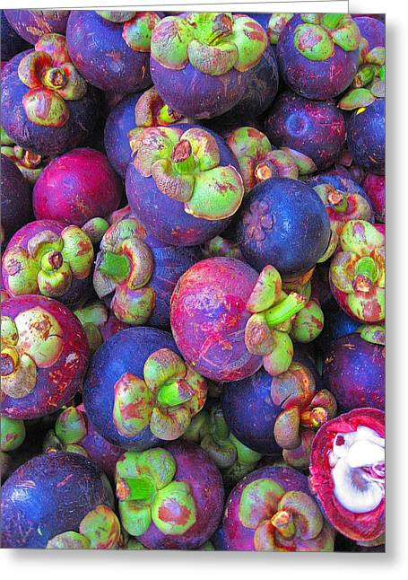 Mangosteen Greeting Cards - Purple mangosteen.  SIAM texture.  Greeting Card by Andy Za