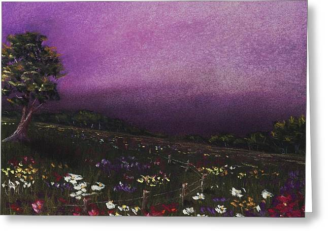 Fence Pastels Greeting Cards - Purple Meadow Greeting Card by Anastasiya Malakhova