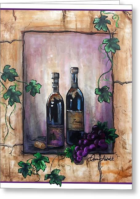 Red Wine On Shelf Paintings Greeting Cards - Purple Memories Greeting Card by Danise Abbott