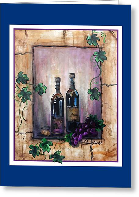 Red Wine Bottle Greeting Cards - Purple Memories Greeting Card by Danise Abbott