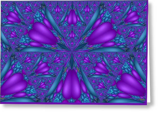 Algorithmic Abstract Greeting Cards - Purple Mixed Fractal Flower Greeting Card by Judi Suni Hall