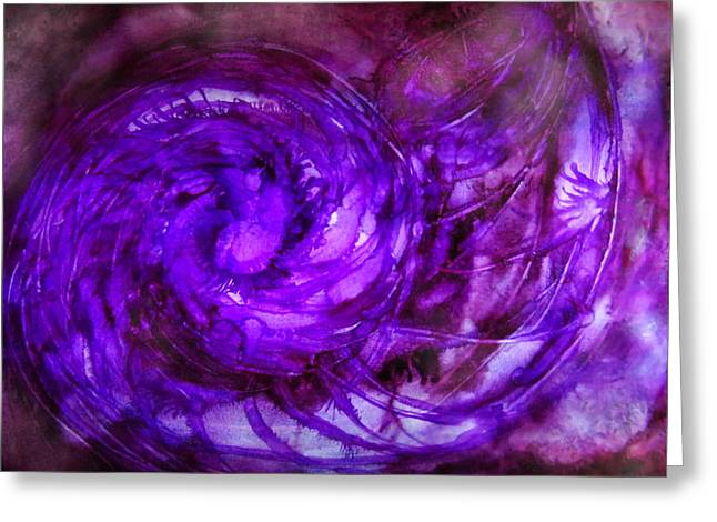 Helix Greeting Cards - Purple Mollusk Alcohol Inks Greeting Card by Danielle  Parent