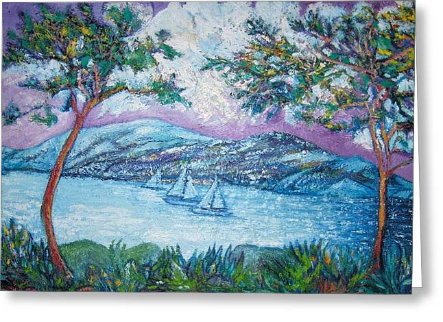 Lakes Sculptures Greeting Cards - Purple Moon Greeting Card by Gunter  Hortz
