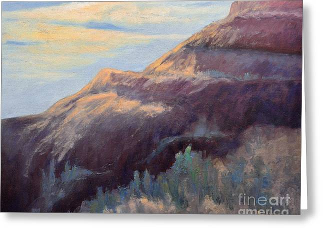 Purple Mountain Greeting Card by Arlene Baller