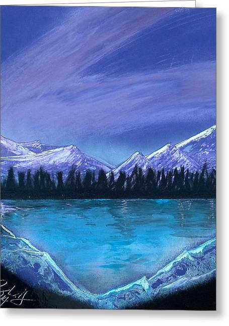 Water Themed Paintings Greeting Cards - Purple Mountain Majesty Greeting Card by Troy Woolley