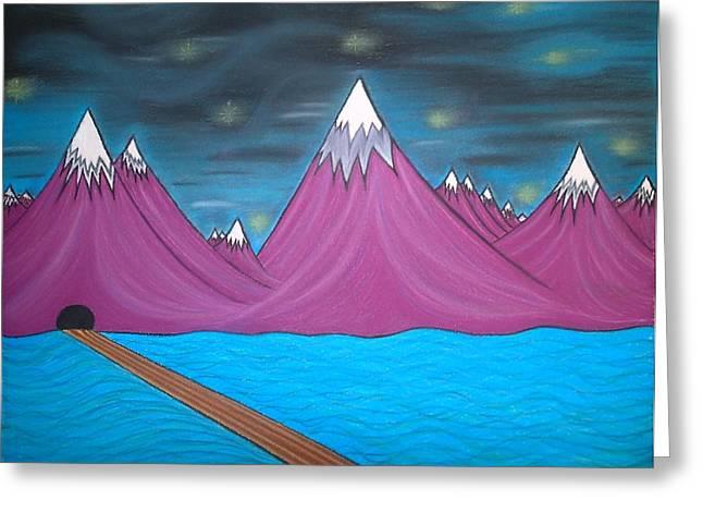 Ocean Scenes Pastels Greeting Cards - Purple Mountains Greeting Card by Robert Nickologianis