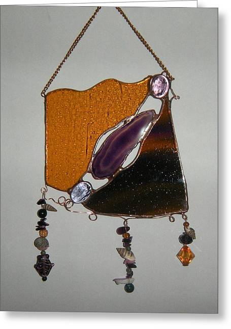 Stones Glass Art Greeting Cards - Purple Greeting Card by Nora Solomon