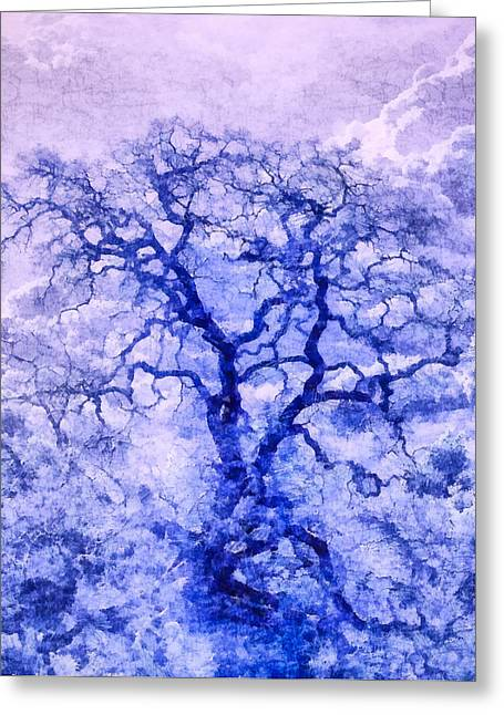 Priya Ghose Greeting Cards - Purple Oak Tree Dream  Greeting Card by Priya Ghose