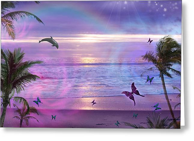 Harmonious Greeting Cards - Purple Ocean Dream Greeting Card by Alixandra Mullins