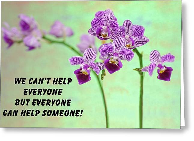 Purple Orchid Quote-1 Greeting Card by Rudy Umans