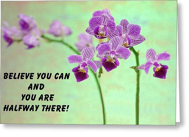 Purple Orchid Quote-2 Greeting Card by Rudy Umans