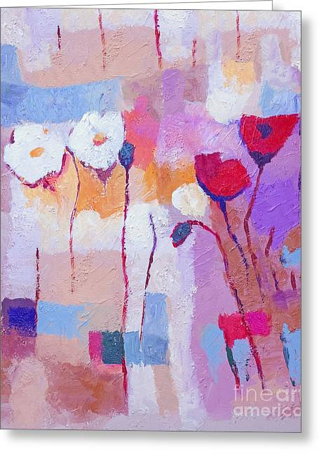 Purple Abstract Paintings Greeting Cards - Purple Pale Greeting Card by Lutz Baar