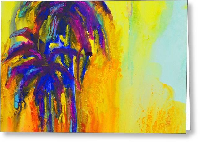 Fineartamerica Greeting Cards - Purple Palm Trees Sunset Greeting Card by Patricia Awapara
