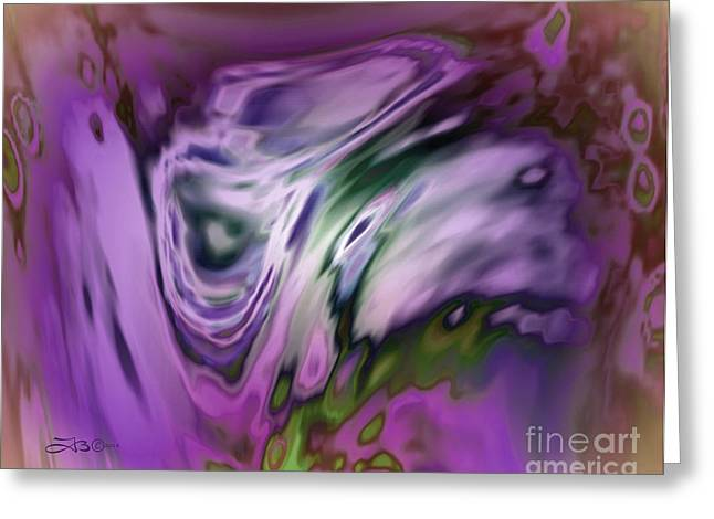 Glass Wall Greeting Cards - Purple Panda Greeting Card by TLynn Brentnall