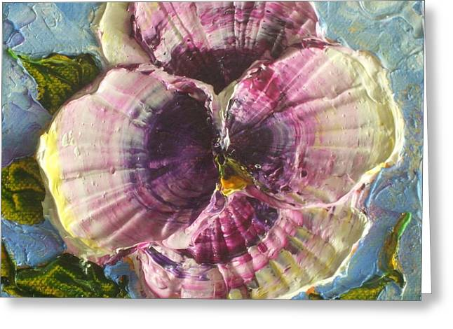 Paris Wyatt Llanso Greeting Cards - Purple Pansy Greeting Card by Paris Wyatt Llanso
