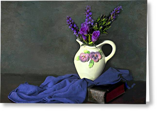 Still Life With Pitcher Greeting Cards - Purple Pardon Greeting Card by Diana Angstadt