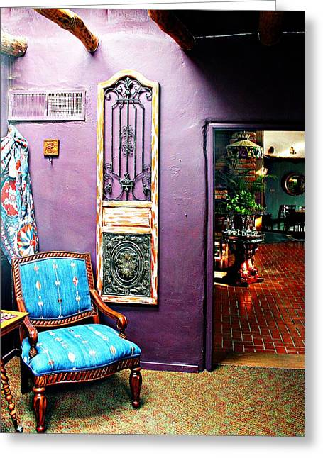 Antique Ironwork Greeting Cards - Purple Parlor Greeting Card by Barbara Chichester