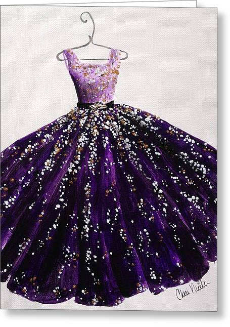 Ball Gown Greeting Cards - Fashion Illustration - Purple Passion Greeting Card by Cheri Miller