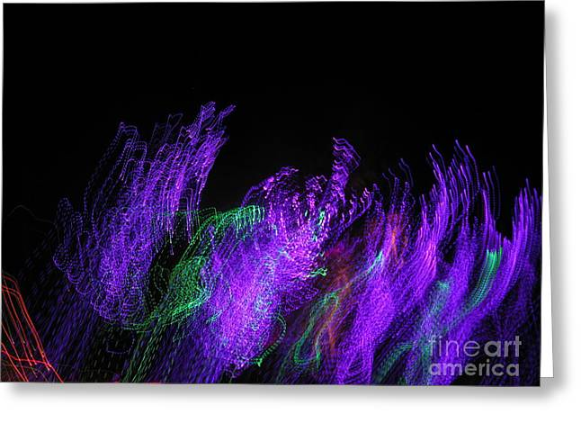 Purple Passion. Dancing Lights Series Greeting Card by Ausra Huntington nee Paulauskaite