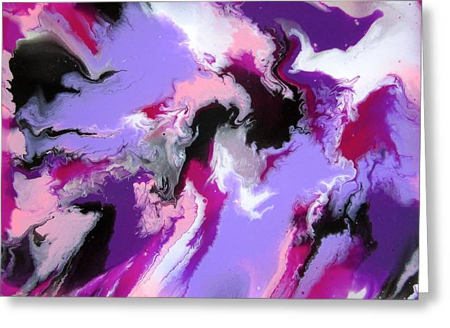 Acrylic Pour Greeting Cards - Purple Passion Greeting Card by Richard Jensen