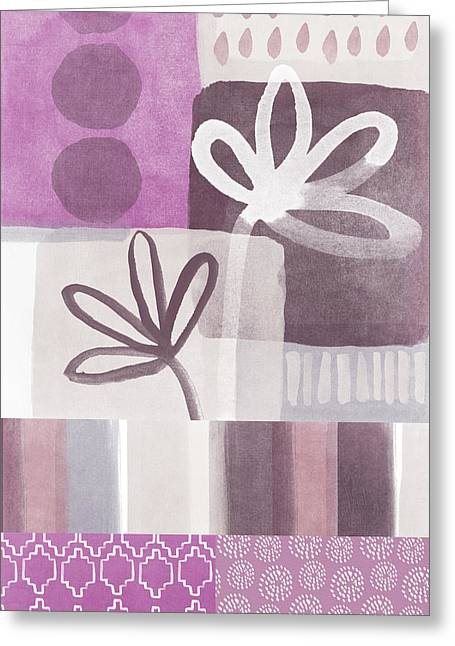 Wall Table Greeting Cards - Purple Patchwork- contemporary art Greeting Card by Linda Woods