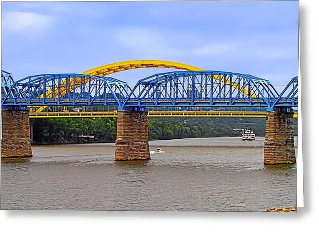 Donald Greeting Cards - Purple People Bridge and Big Mac Bridge - Ohio River Cincinnati Greeting Card by Christine Till