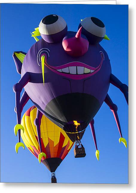 Ballooning Greeting Cards - Purple people eater and friend Greeting Card by Garry Gay