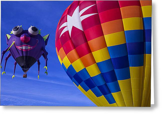 Ballooning Greeting Cards - Purple People Eater Rides The Wind Greeting Card by Garry Gay