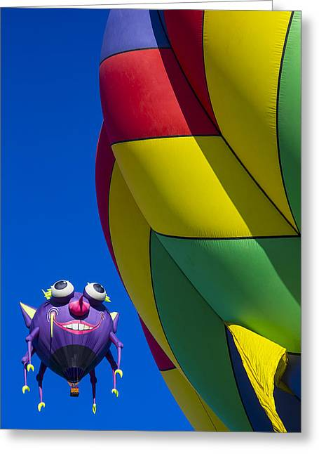 Ballooning Greeting Cards - Purple people eater smiling Greeting Card by Garry Gay