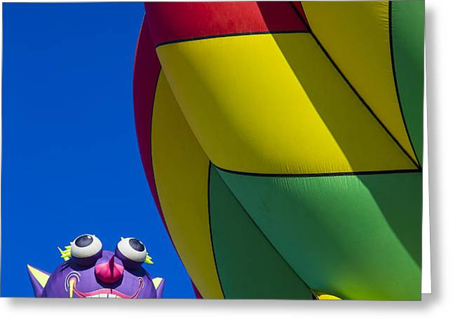 Purple people eater smiling Greeting Card by Garry Gay
