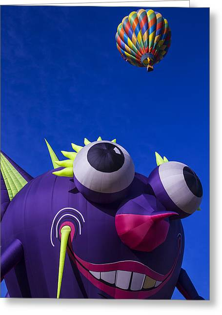 Ballooning Greeting Cards - Purple People Eater Up Close Greeting Card by Garry Gay