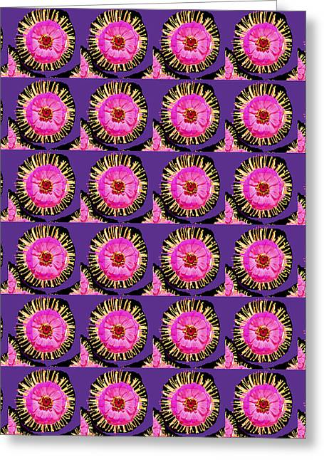 Not In Use Greeting Cards - Purple Pink Flower Pattern decoration Background Designs  and Color Tones n Color Shades available f Greeting Card by Navin Joshi