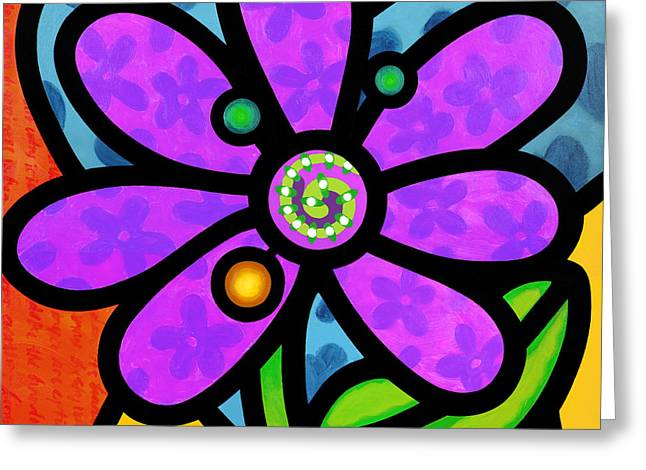 Purple Abstract Greeting Cards - Purple Pinwheel Daisy Greeting Card by Steven Scott