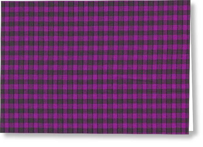 Patterned Greeting Cards - Purple Plaid Pattern Fabric Background Greeting Card by Keith Webber Jr