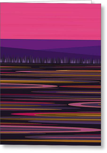 Pink And Purple Greeting Cards - Purple Pond and Pink Sky Greeting Card by Val Arie