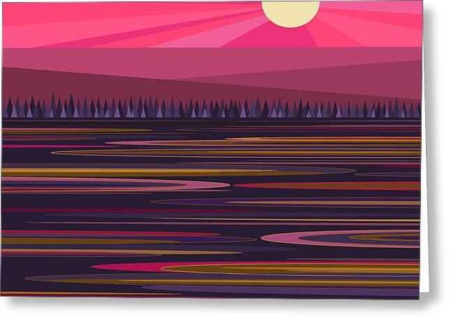 Pink And Purple Greeting Cards - Purple Pond and Pink Sunbeams Greeting Card by Val Arie