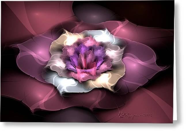 Soft Light Digital Art Greeting Cards - Purple Posey Greeting Card by Peggi Wolfe