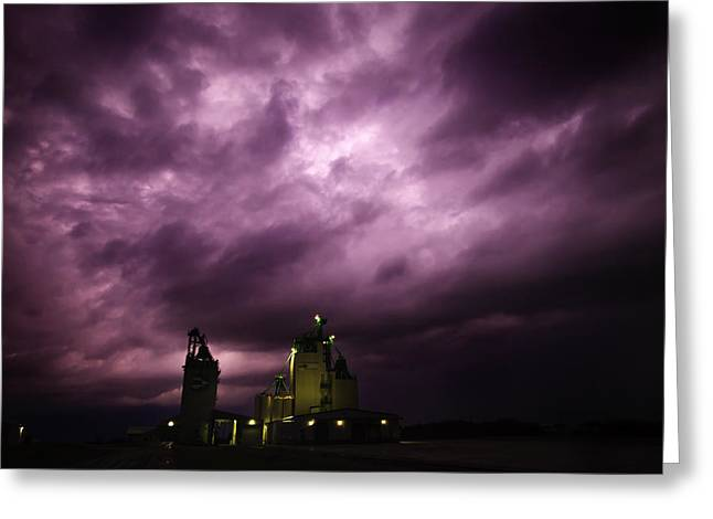 Canadian Prairies Greeting Cards - Purple Prairie Storm Greeting Card by Ian MacDonald